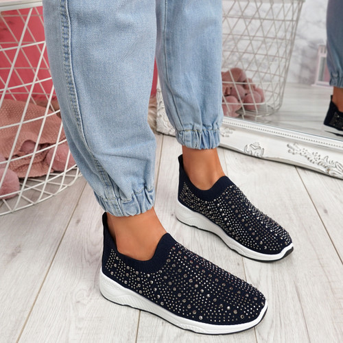 Kenny Deep Blue Studded Sock Sneakers