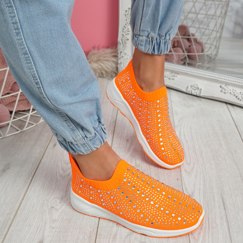 Kenny Orange Studded Sock Sneakers