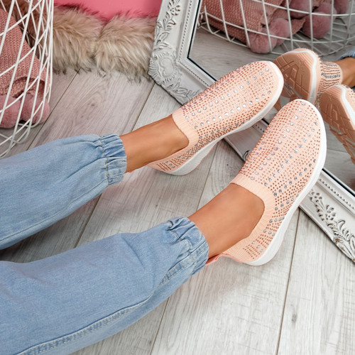 Kenny Pink Studded Sock Sneakers