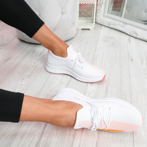 Nova Orange Lace Up Knit Trainers