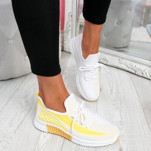 Nova Yellow Lace Up Knit Trainers