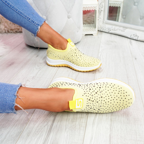 Vya Yellow Studded Slip On Trainers