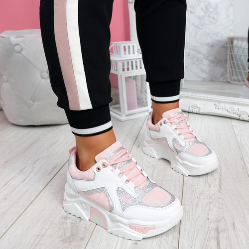 Nezze Pink Glitter Chunky Sneakers