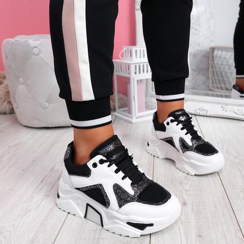 Nezze Black Glitter Chunky Sneakers