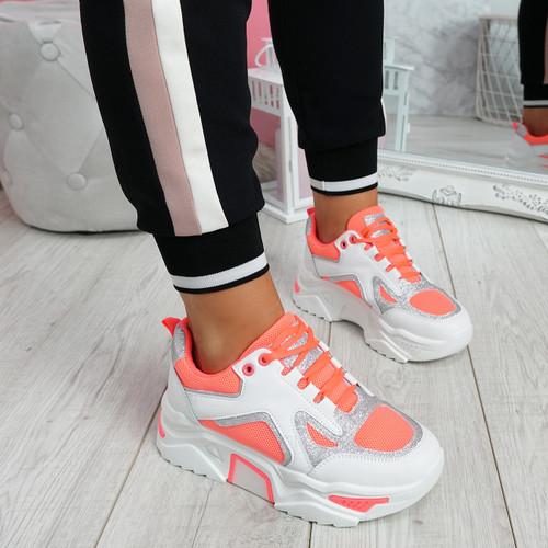 Nezze Peach Glitter Chunky Sneakers