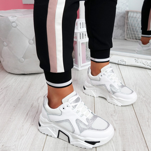 Nezze White Glitter Chunky Sneakers