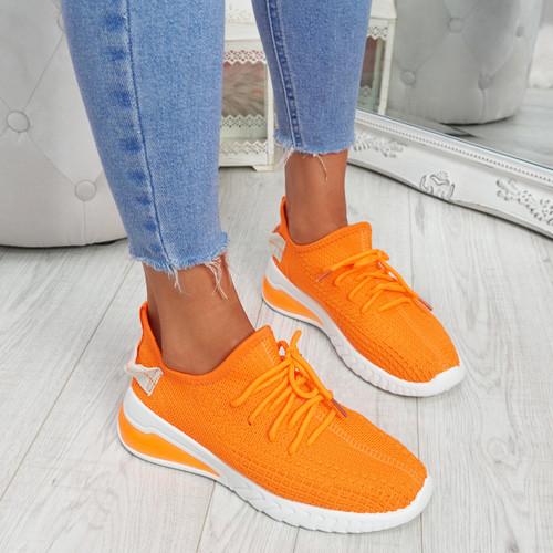Tissa Orange Lace Up Trainers