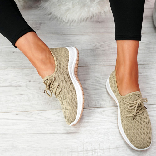 Ligy Beige Knit Lace Up Sneakers