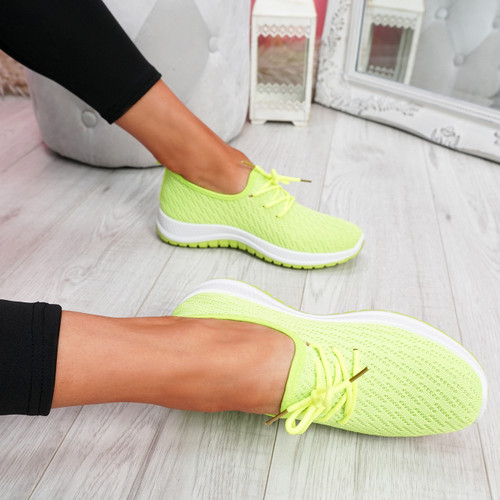 Ligy Fluorescence Knit Lace Up Sneakers