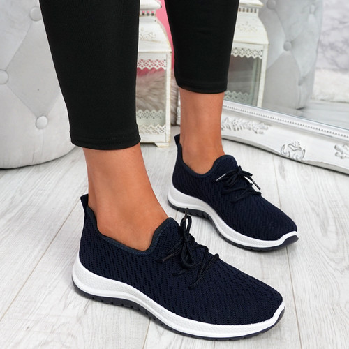 Ligy Navy Knit Lace Up Sneakers