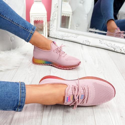 Elva Pink Rainbow Sole Trainers
