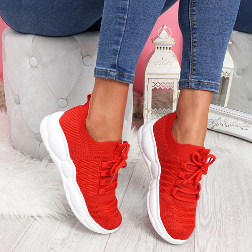 Mizza Red Chunky Trainers