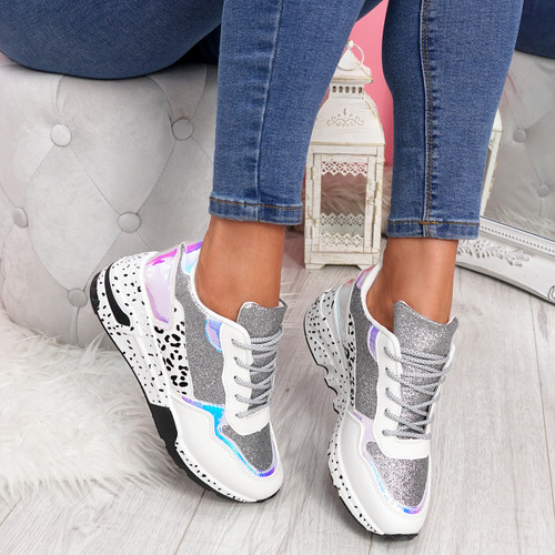 Zinna Silver Glitter Chunky Sneakers