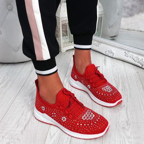 Pehy Red Studded Knit Sneakers