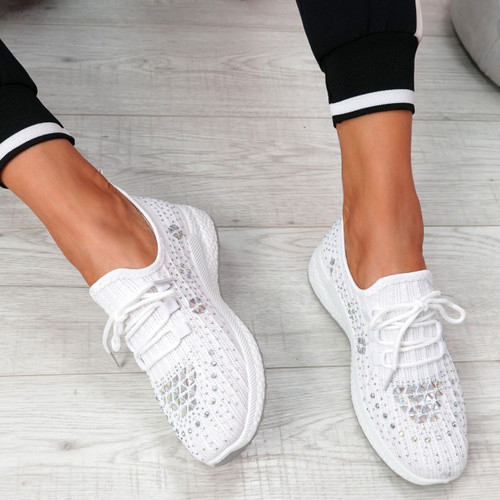 Pehy White Studded Knit Sneakers