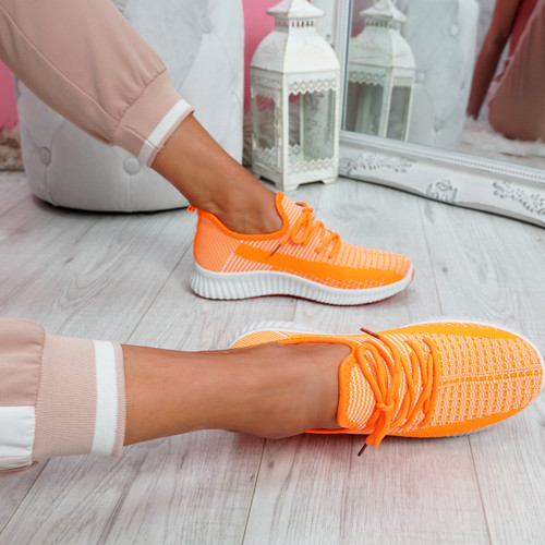 Tenny Orange Lace Up Trainers
