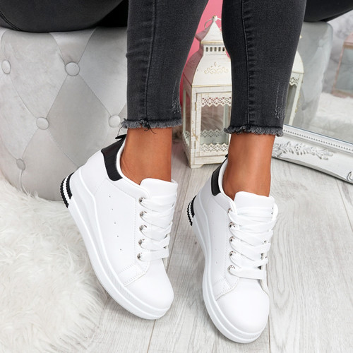 Retty White Black Wedge Trainers