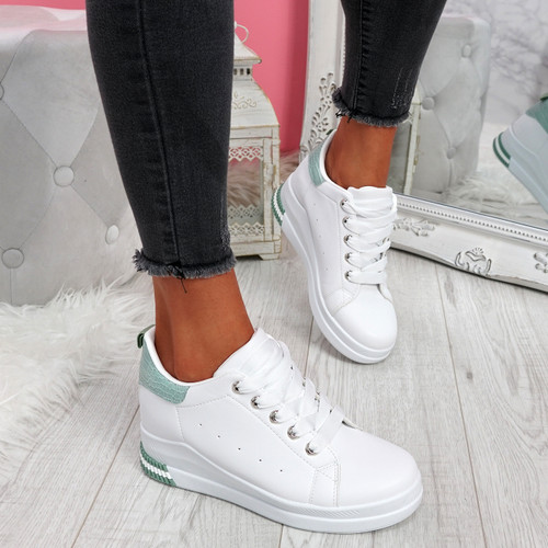 Retty White Green Wedge Trainers