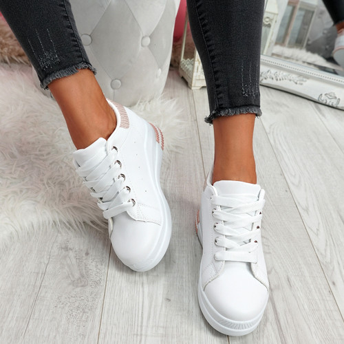 Retty White Pink Wedge Trainers