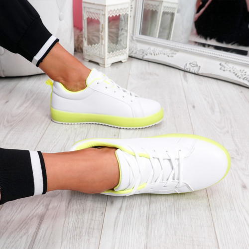 Crozy Green Lace Up Platform Trainers
