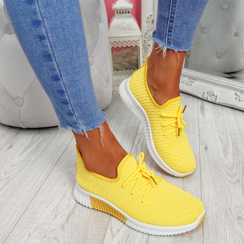 Senny Yellow Lace Up Trainers