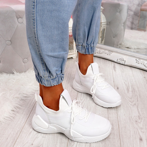 Lomy All White Chunky Trainers