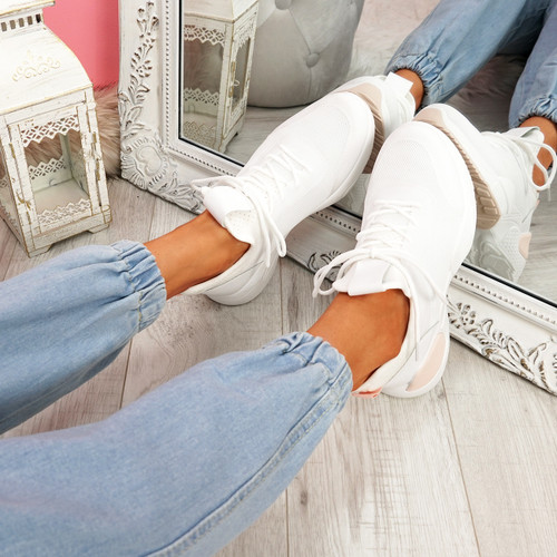 Lomy White Pink Chunky Trainers
