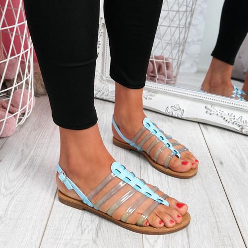 Kotty Light Blue Flat Sandals