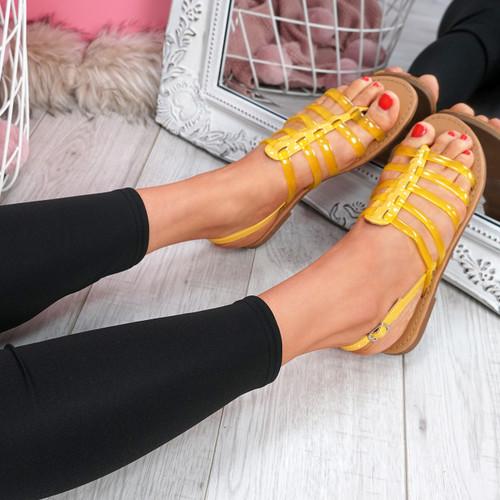 Kotty Yellow Flat Sandals