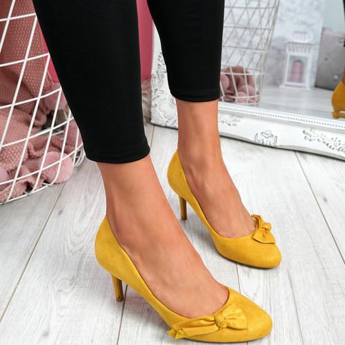 Bokka Yellow Stilleto Bow Pumps