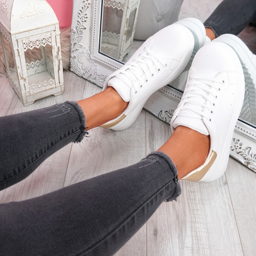 Yallo White Champagne Walking Trainers