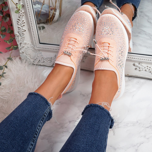 Hezzo Pink Studded Trainers
