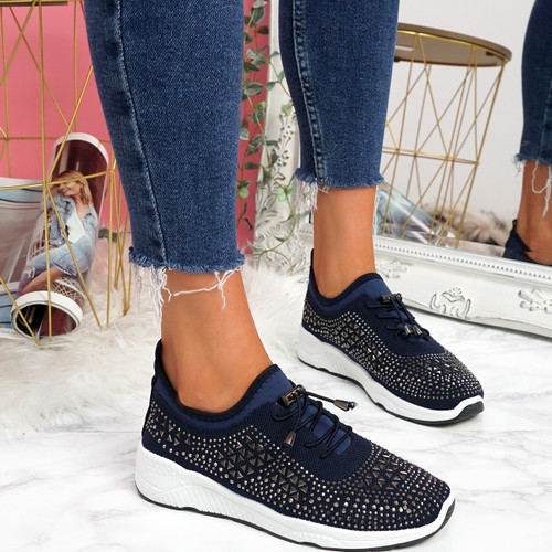 Hezzo Deep Blue Studded Trainers
