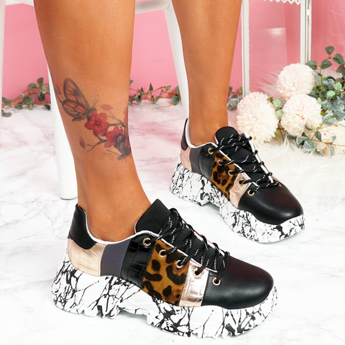 Hoppe Black Lace Up Chunky Sneakers