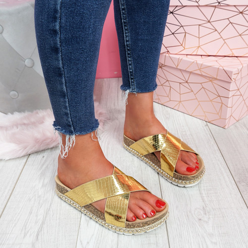 Sya Gold Slip On Sandals