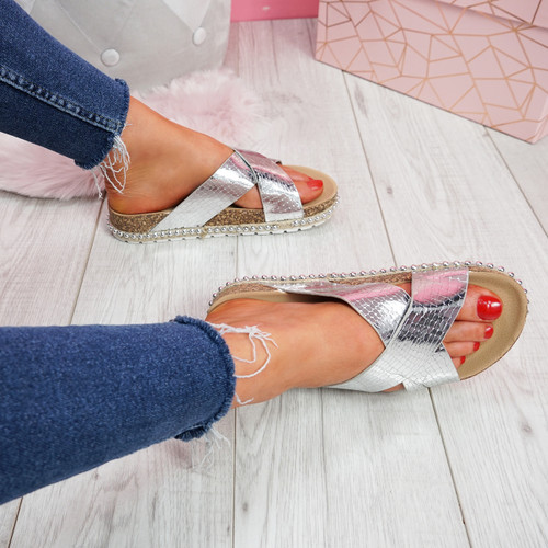 Sya Silver Slip On Sandals