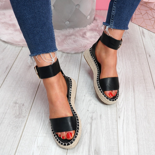 Foddy Black Ankle Strap Platform Sandals
