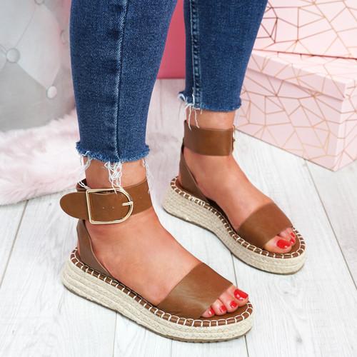 Foddy Tan Ankle Strap Platform Sandals