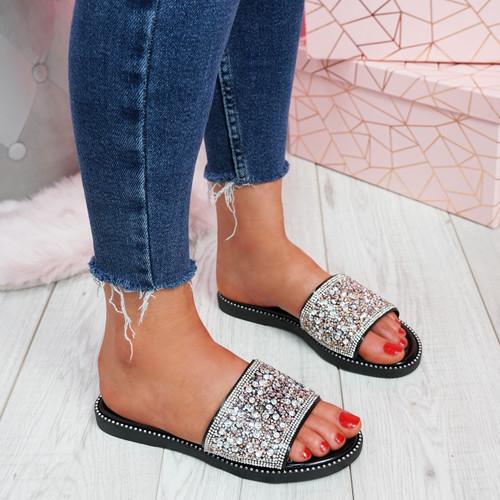 Henny Black Diamante Studded Sandals