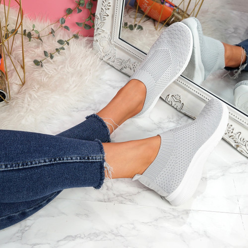 Dynna Grey Sock Cycling Sneakers