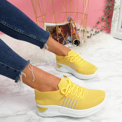 Bello Yellow Lace Up Walking Trainers