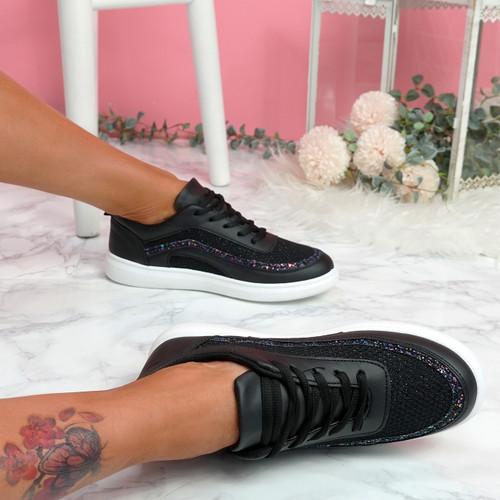 Kawa Black Lace Up Glitter Trainers
