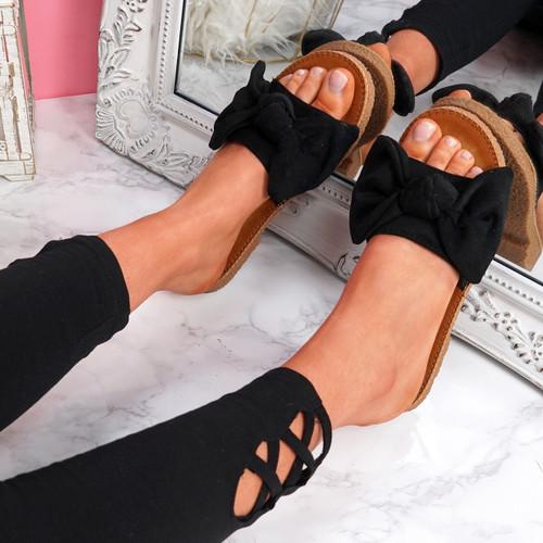 Onno Black Bow Flat Sandals