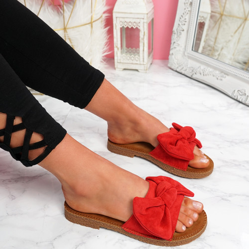 Onno Red Bow Flat Sandals