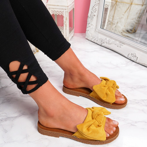 Onno Yellow Bow Flat Sandals