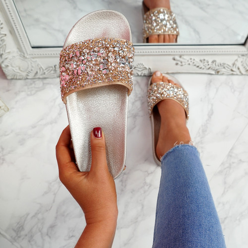 Kevy Champagne Diamante Studded Sandals