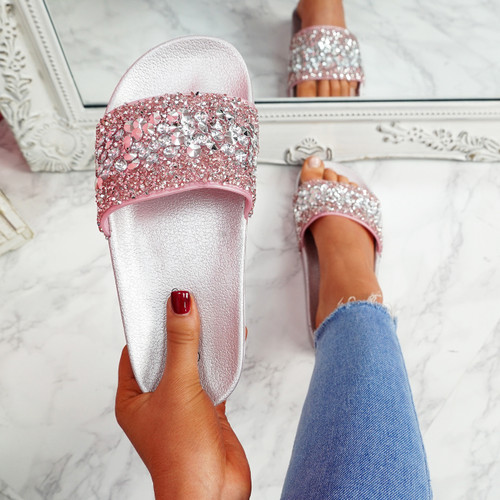 Kevy Pink Diamante Studded Sandals