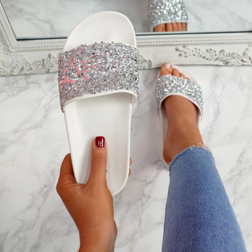 Kevy White Diamante Studded Sandals