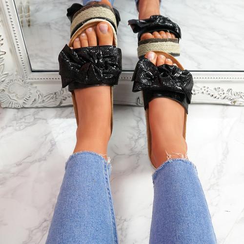 Linne Black Glitter Flatform Sandals