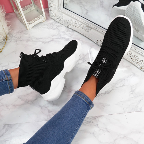 Ubba Black Lace Up Sock Sneakers